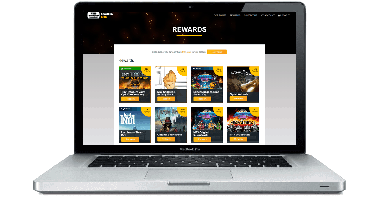Wired Rewards website design and development