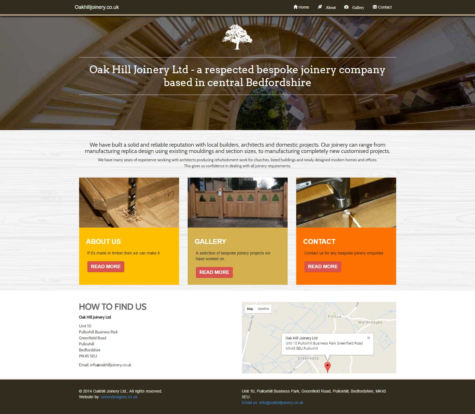 Website design - Oakhill Joinery